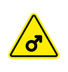 Attention man male sign on yellow triangle road vector