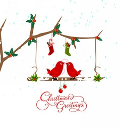 Birds couple on the holly berry branch holiday vector