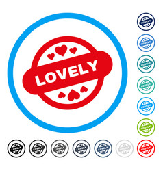Lovely stamp seal rounded icon vector