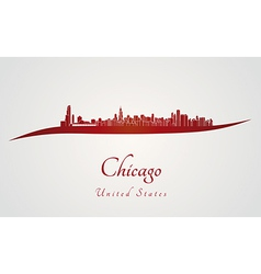 Chicago skyline in red vector