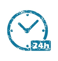 Grunge 24h workhours icon vector