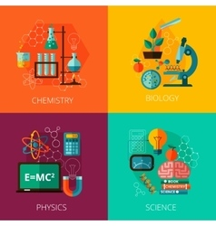 Science concept 4 flat icon composition icons vector