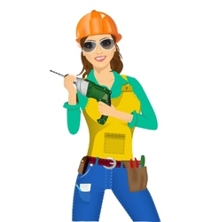 Worker woman with drill vector