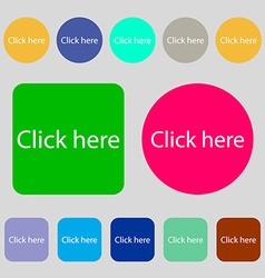 Click here sign icon press button 12 colored vector