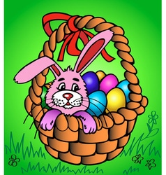 Easter bunny in a basket vector