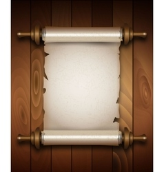 Vertical old scroll paper on wooden background vector