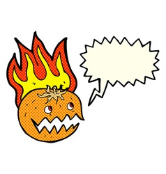 cartoon flaming pumpkin with speech bubble vector image