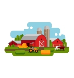 Flat of a farm landscape vector