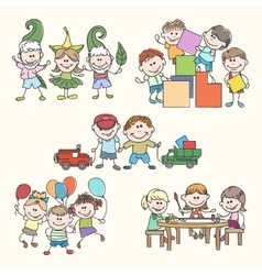 Childrens in kinder garden hand drawn vector
