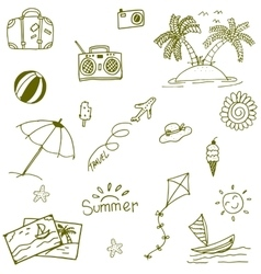 Doodle of beach icon set vector image
