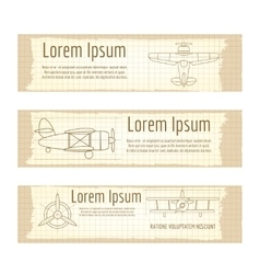 Vintage banners set with planes structure vector