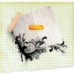 Abstract Grunge Floral Note Backdrop vector image