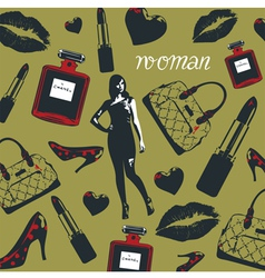 Beauty Fashion Cosmetics Pattern vector image vector image