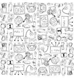 Big doodles school education vector image
