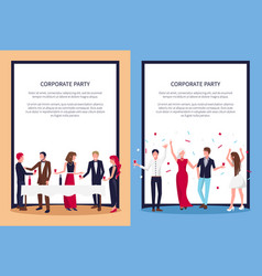 Corporate party posters set text sample and people vector