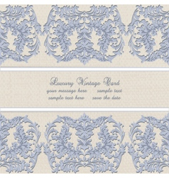 Damask lace invitation card with floral ornament vector