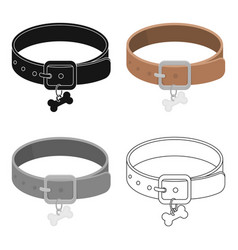 dog collar icon in cartoon style isolated on white vector image vector image