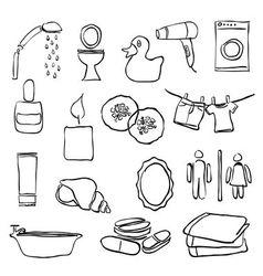 Doodle bathroom images vector