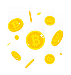 Falling bitcoins isolated on vector