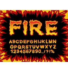 Fire font Flame Alphabet Fiery letters Burning ABC vector image vector image
