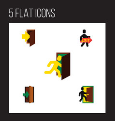 flat icon emergency set of open door exit vector image vector image