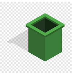 Green trash bin isometric icon vector