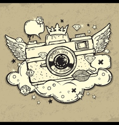 Grunge photocamera Design vector image