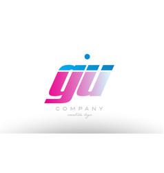 gu g u alphabet letter combination pink blue bold vector image vector image