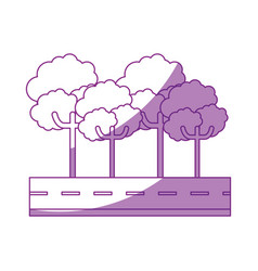 isolated tree on highway cartoon vector image
