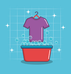 Laundry basin soap tshirt bubbles clean vector