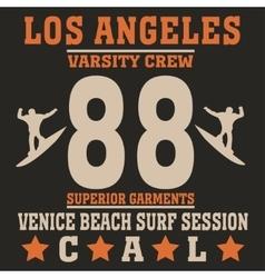 Los angeles california surf typography vector