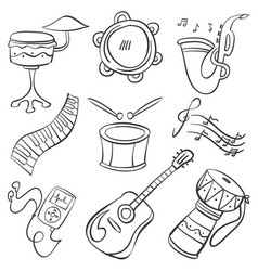 musical instrument doodle style collection vector image