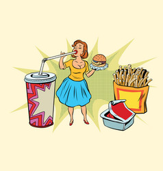 Pop art woman and fast food vector