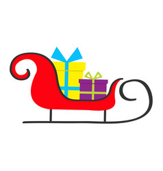 Santa claus sleigh with gift box set merry vector