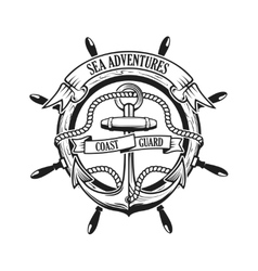 Sea adventures coast guard anchor with rope and vector
