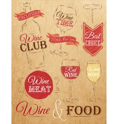 Set wine chalk kraft vector