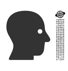 Silent head icon with people bonus vector