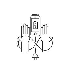 Smartphone charging icon vector