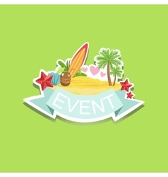 Surfing Event Template Label Cute Sticker vector image