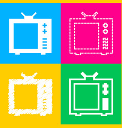 Tv sign four styles of icon on four vector