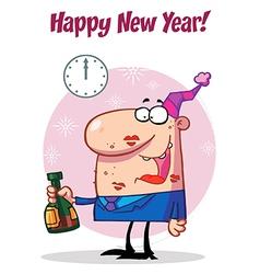 Happy Man Celebrating Happy New Year vector image