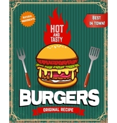 Old style poster with burger Food vintage poster vector image