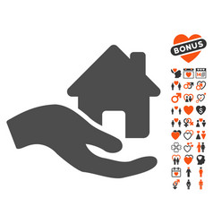 Home offer hand icon with love bonus vector