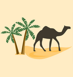 Camel in the desert palm trees vector