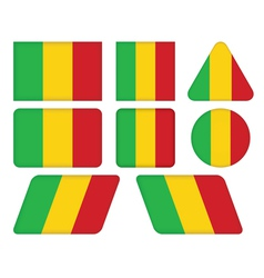 Buttons with flag of mali vector