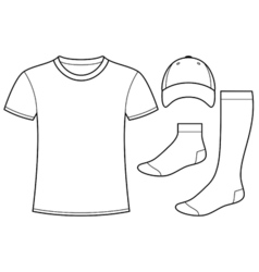 T-shirt cap and socks vector