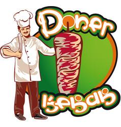 Shish kebab cook east kitchen character vector