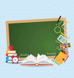 Education design background with open book vector