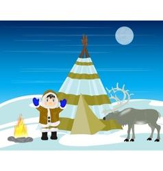 Reindeer breeder on north vector image