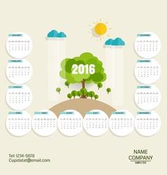 2016 calendar modern business card template with vector